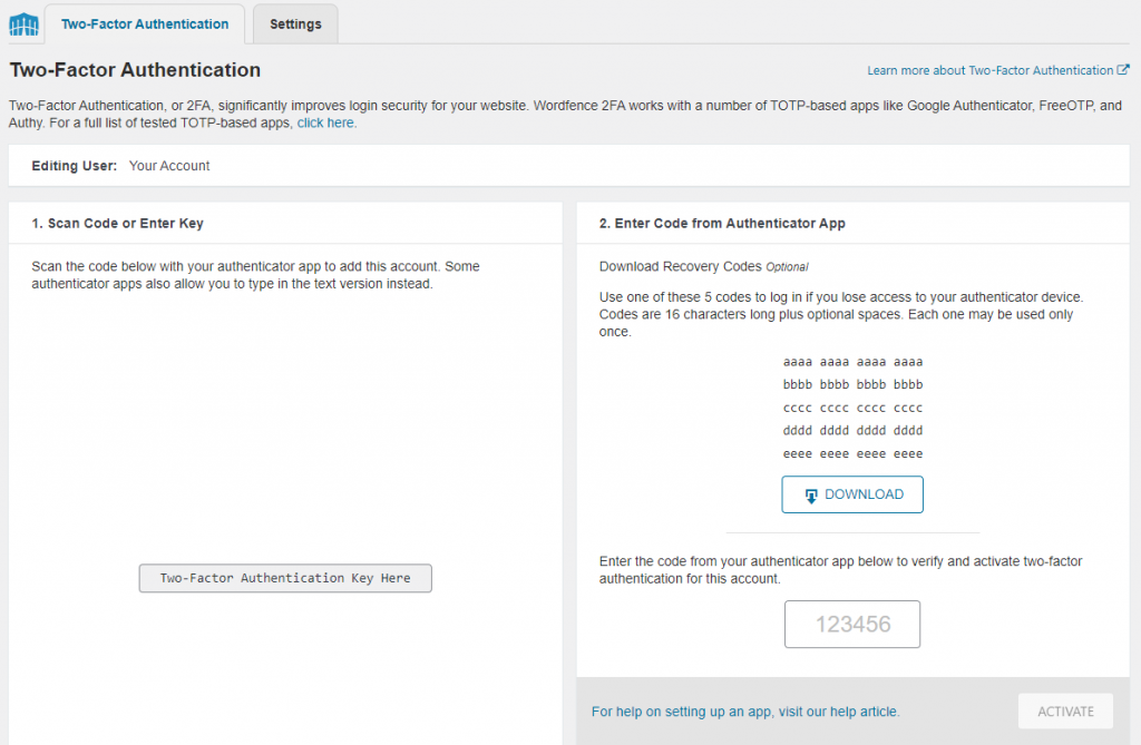 Two factor authentication section in WordPress
