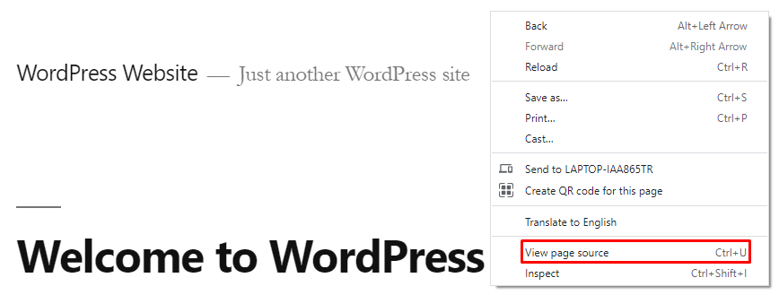 Web browser screenshot showing where to find View page source option.