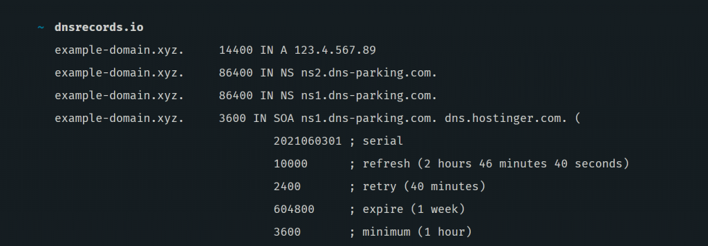 A window showing website's DNS records and A record value. You can see whether your domain name has been pointed correctly