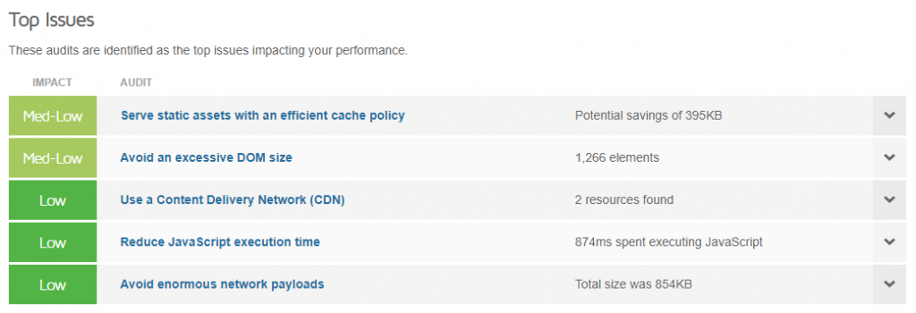 A performance report identifying the top issues on the website
