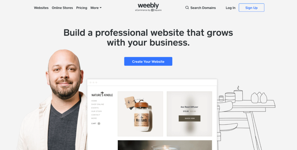 Screenshot of Weebly's website.