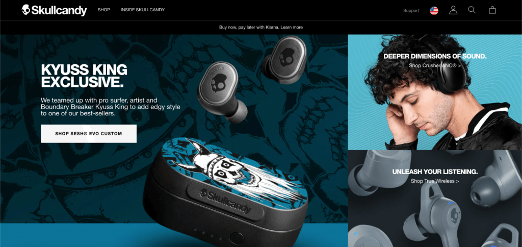Screenshot from the Skullcandy website advertising a wireless headset and showing where to buy it.