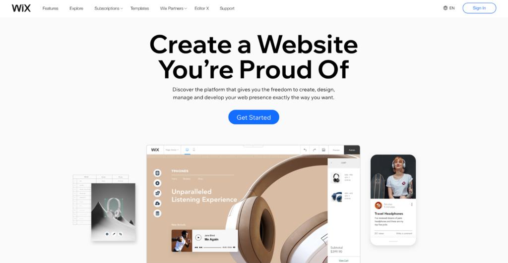 Screenshot of Wix's website.