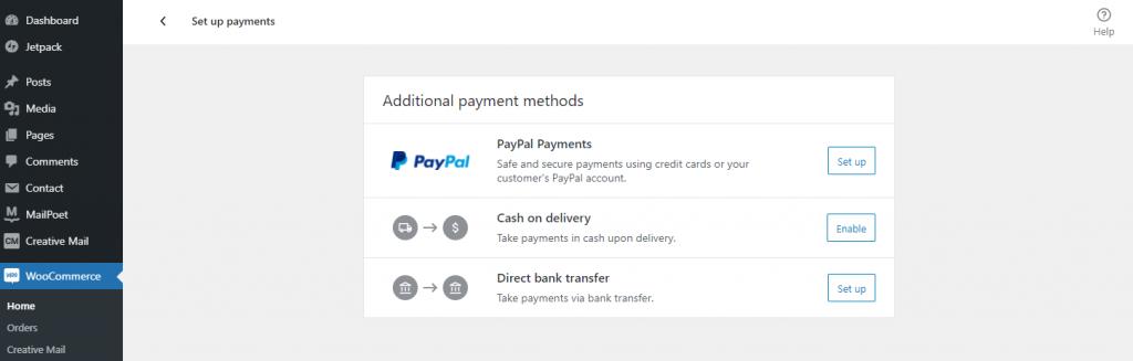 WooCommerce payments setup