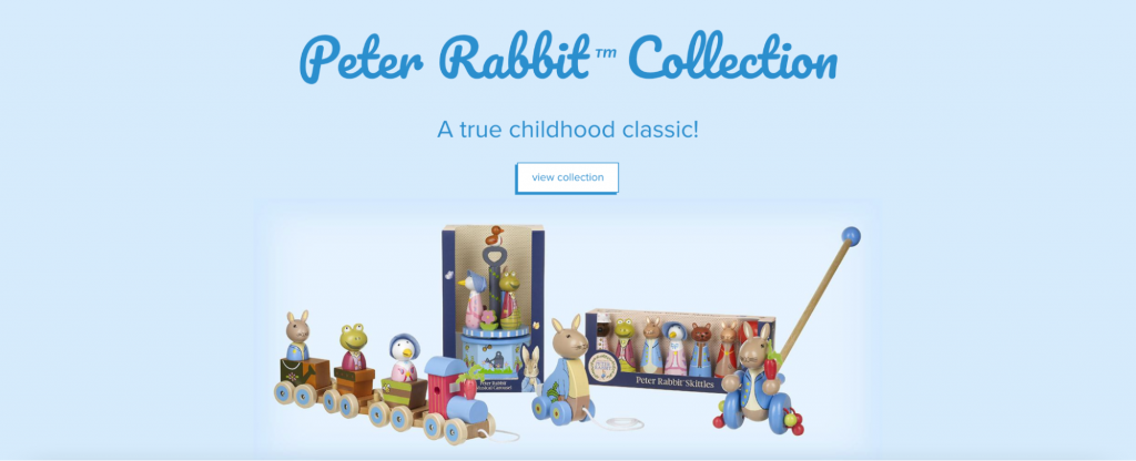 Screenshot showing a Peter Rabbit collection of wooden toys.