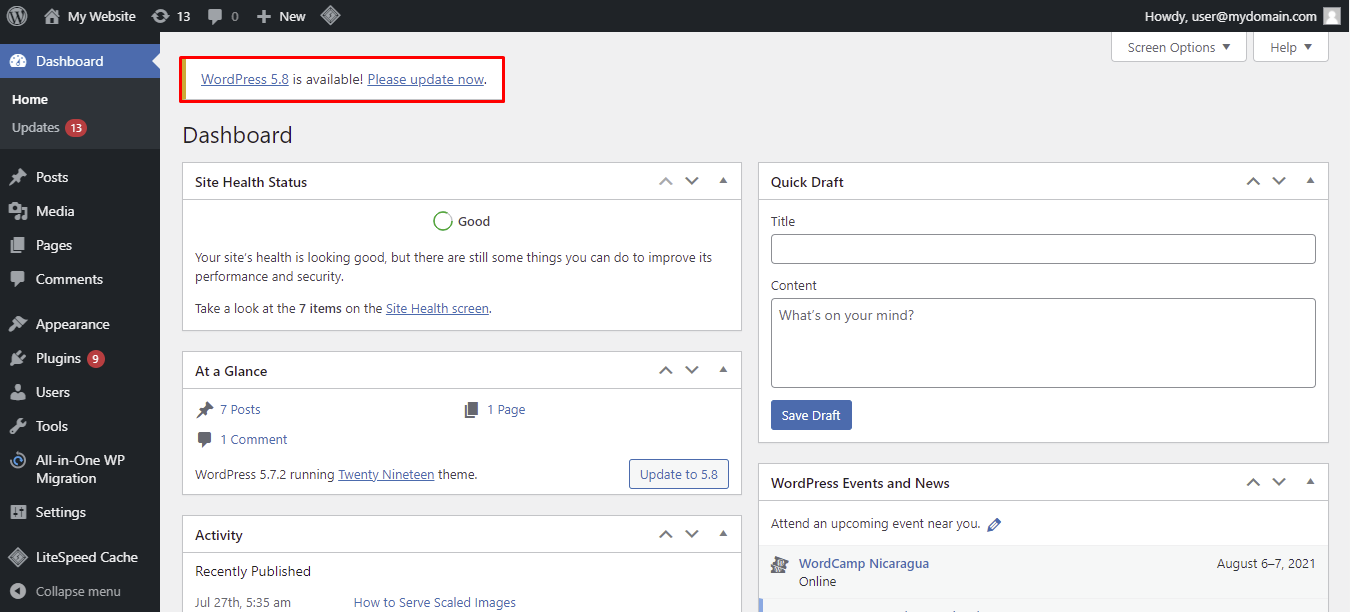 "Screenshot showcasing the WordPress ""please update now"" link"