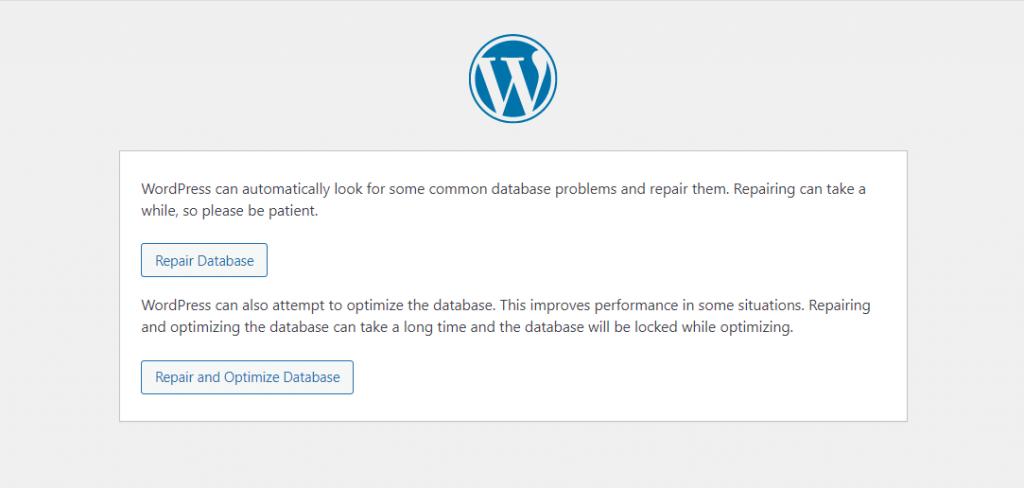 A window of WordPress allowing to choose repair database or repair and optimize database