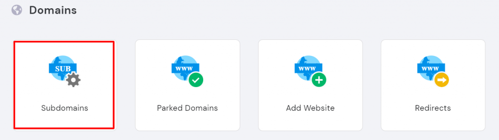 A screenshot showing the domains menu in hPanel, highlighting the Subdomains tab