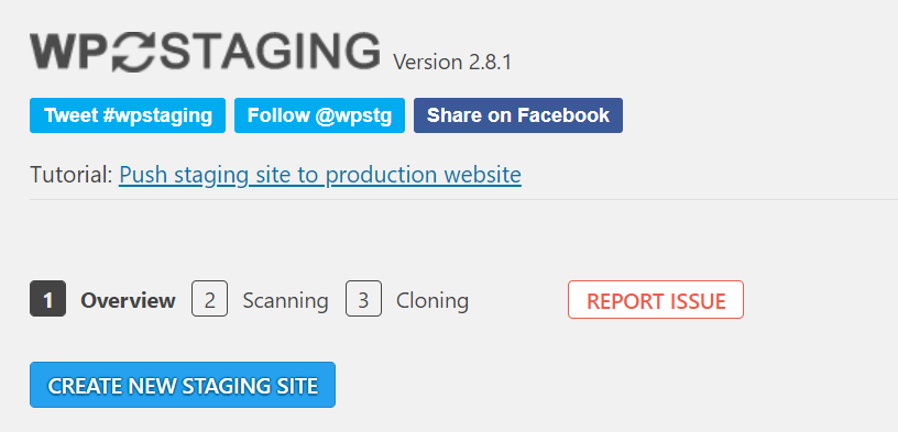 Create a new stagging site via WP Staging.