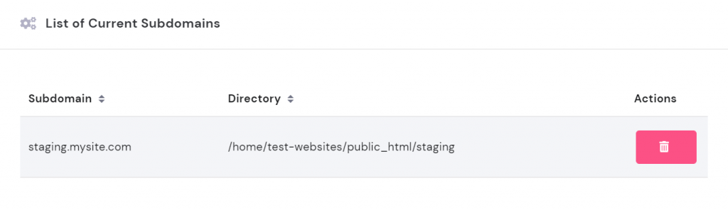 List of current subdomains in hPanel.