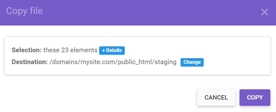 Copy file section in hPanel's public_html folder.