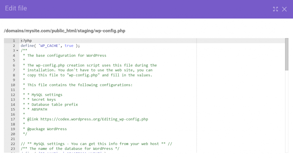wp.config.php file in hPanel.