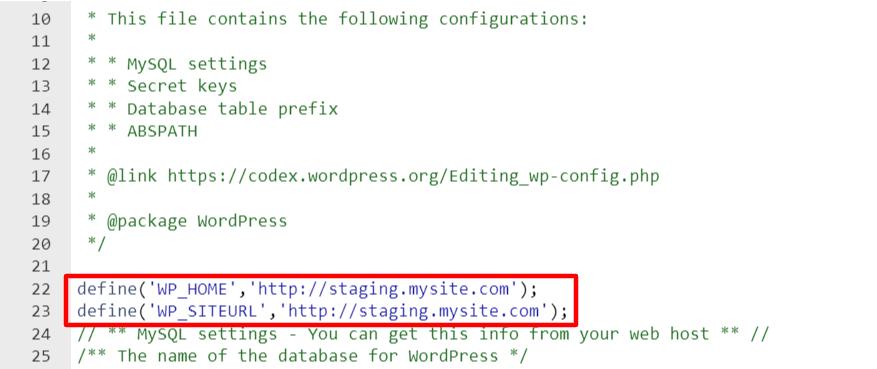 MySQL settings line of code.