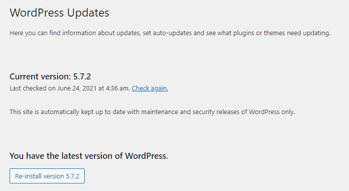 A window showing displaying information about WordPress updates and version