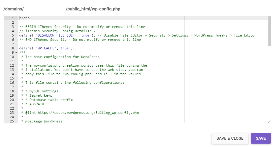 wp-config.php file.