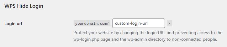Filling in the login URL field in WPS Hide Login plugin