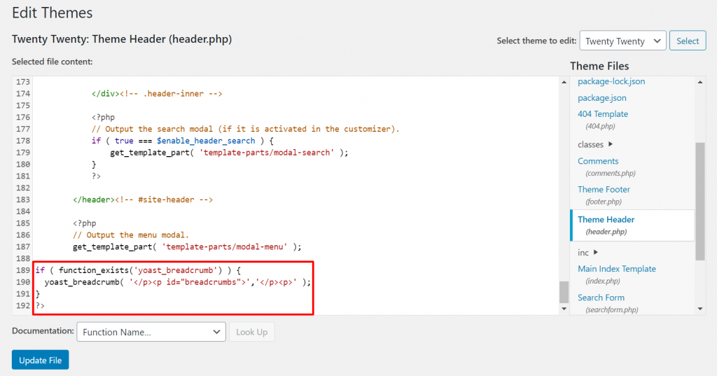 A screenshot showing how to insert the code snippet for Yoast breadcrumb
