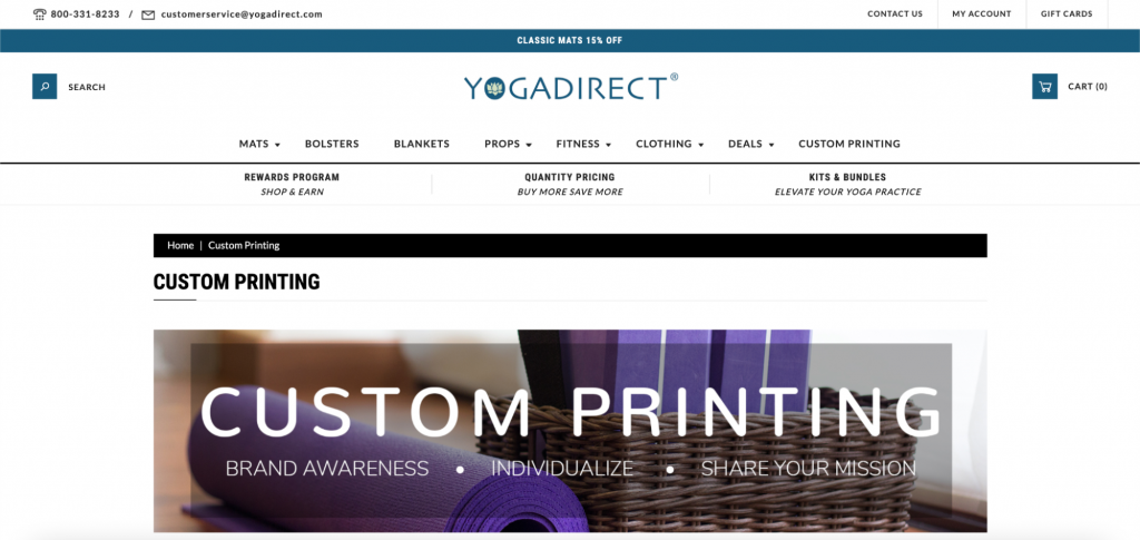 Screenshot from YogaDirect website advertising custom printing for yoga mats.