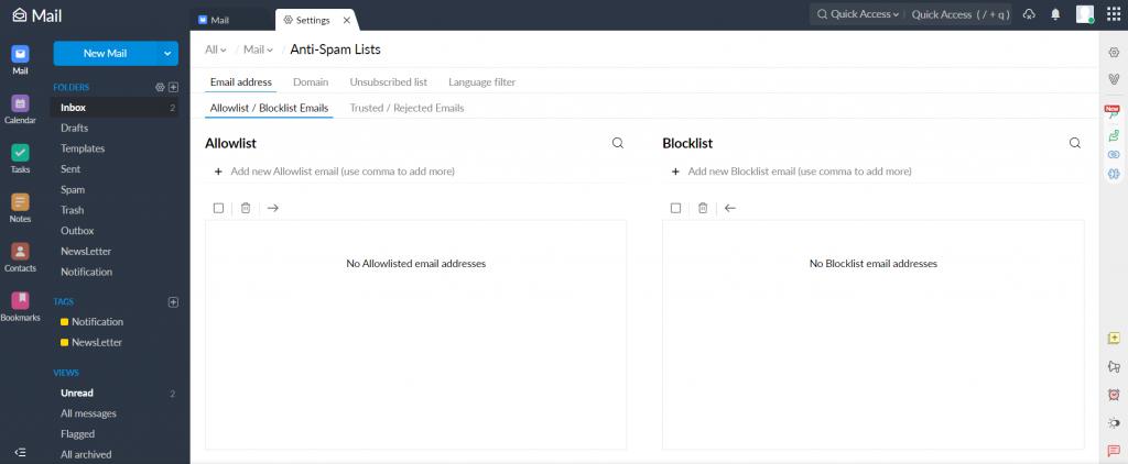 Adding a new blocklist on Zoho Mail.