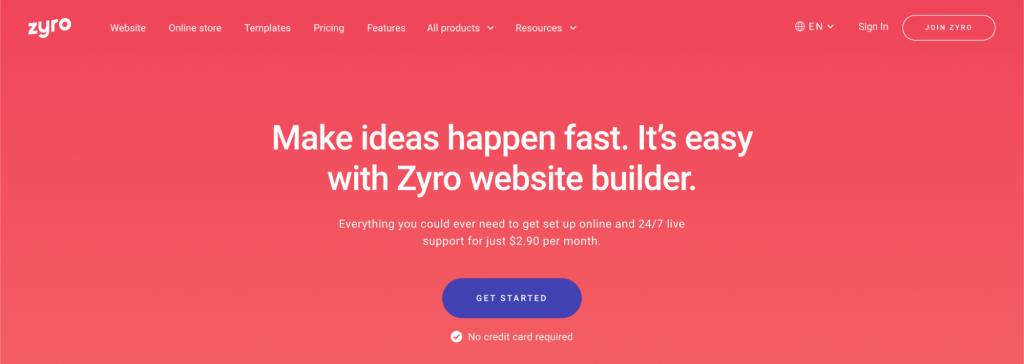 Zyro, a website builder.
