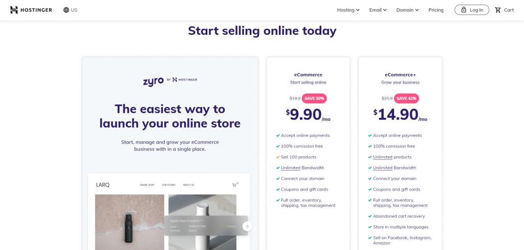 Zyro eCommerce plans