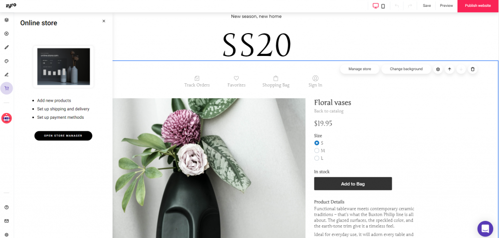 Building an online store with Zyro