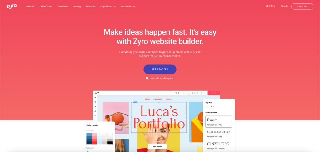 Screenshot of Zyro's website.