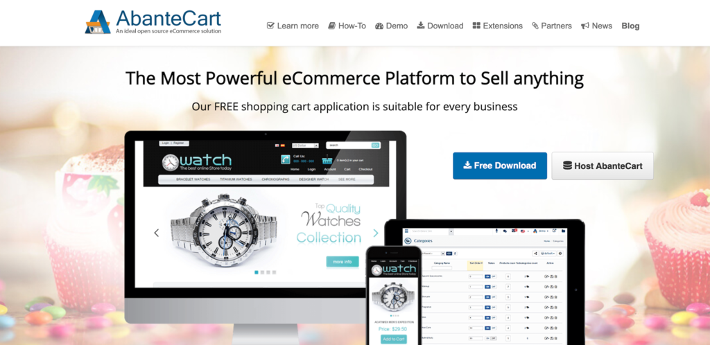 Screenshot from the AbanteCart website showing its front page.