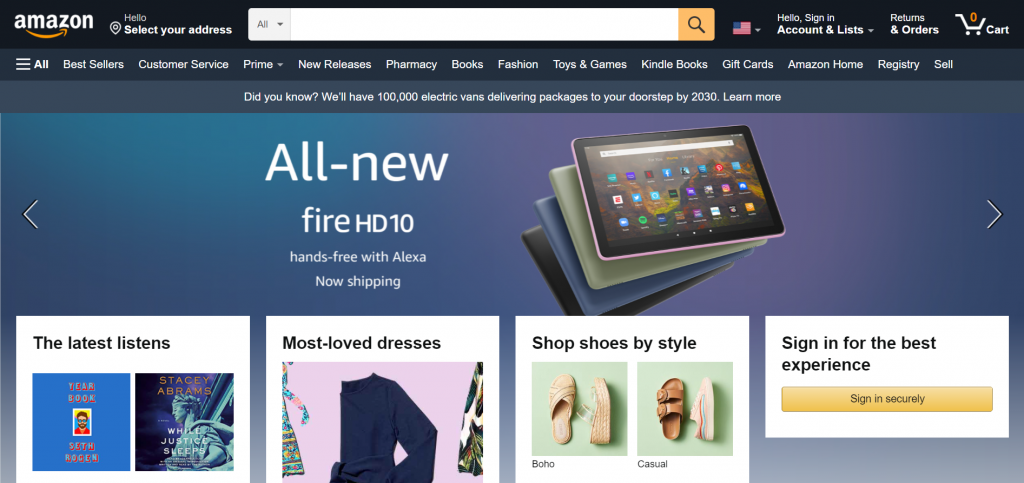 Amazon site's front page.