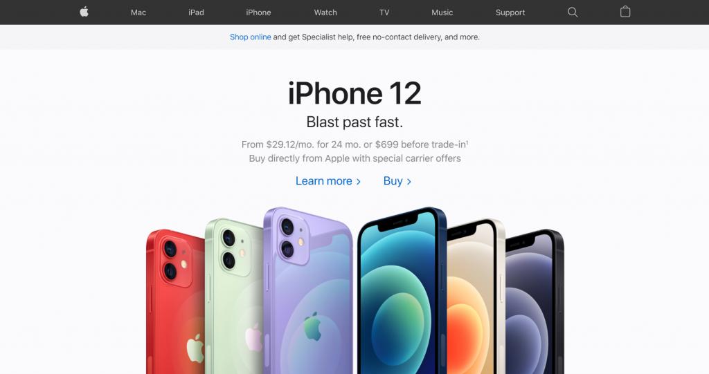 website thương mại điện tử của apple