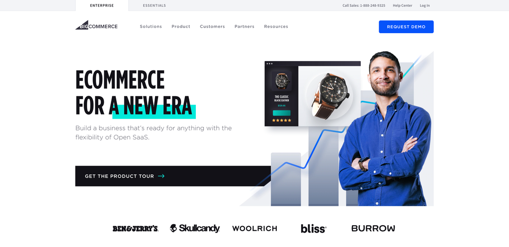 Screenshot from the BigCommerce website showing its front page.