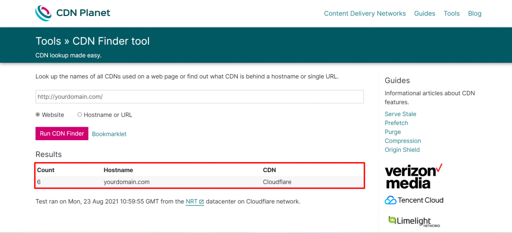Screenshot from the CDN Finder tool showing an example of the results.