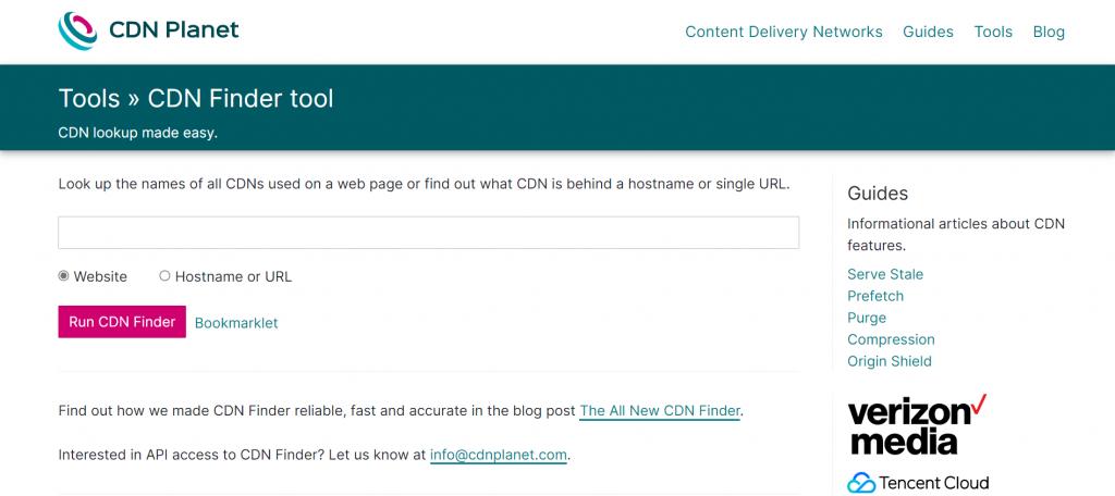 Screenshot from the CDN Planet's website showing its CDN Finder tool.
