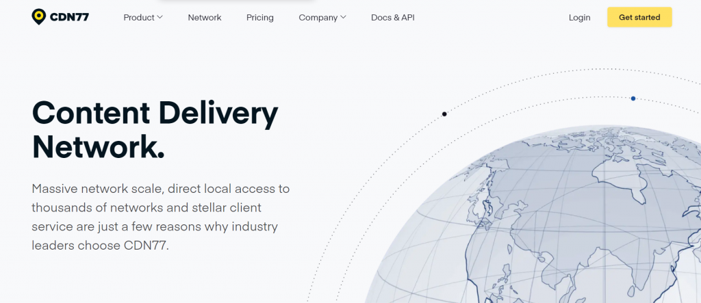 The CDN77 front page - Content Delivery Network.