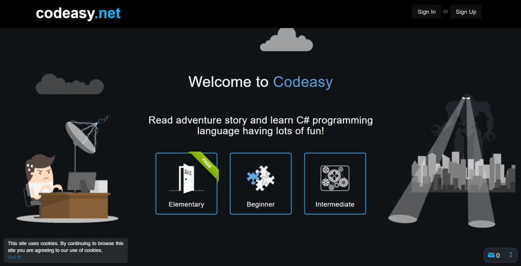 Codeasy homepage.