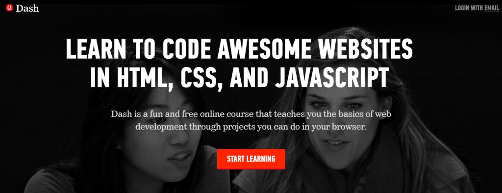 Dash homepage.