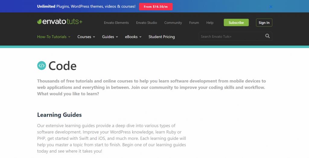 Envato homepage.