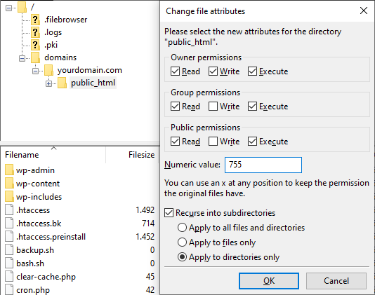 Screenshot from the FTP's file attributes showing the numeric value at 755 and the apply to directories only option.