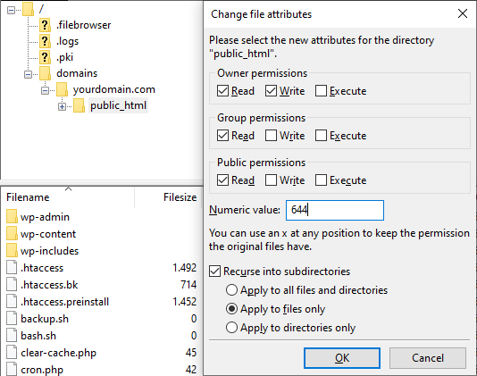 Screenshot from the FTP's file attributes showing the numeric value at 644 and the apply to files only option.