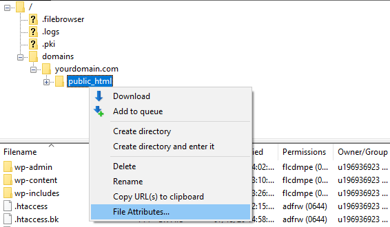 Screenshot from the FTP client showing where to find public_html file and File Attributes.