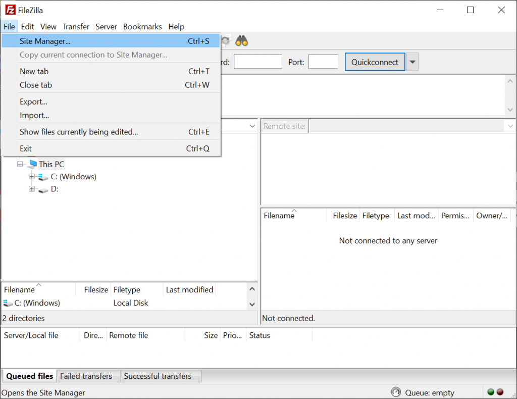A screenshot from FileZilla showing where to find the Site Manager.