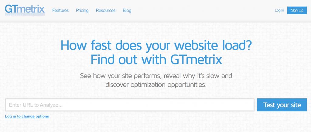 A screenshot showing GTMetrix website's front page