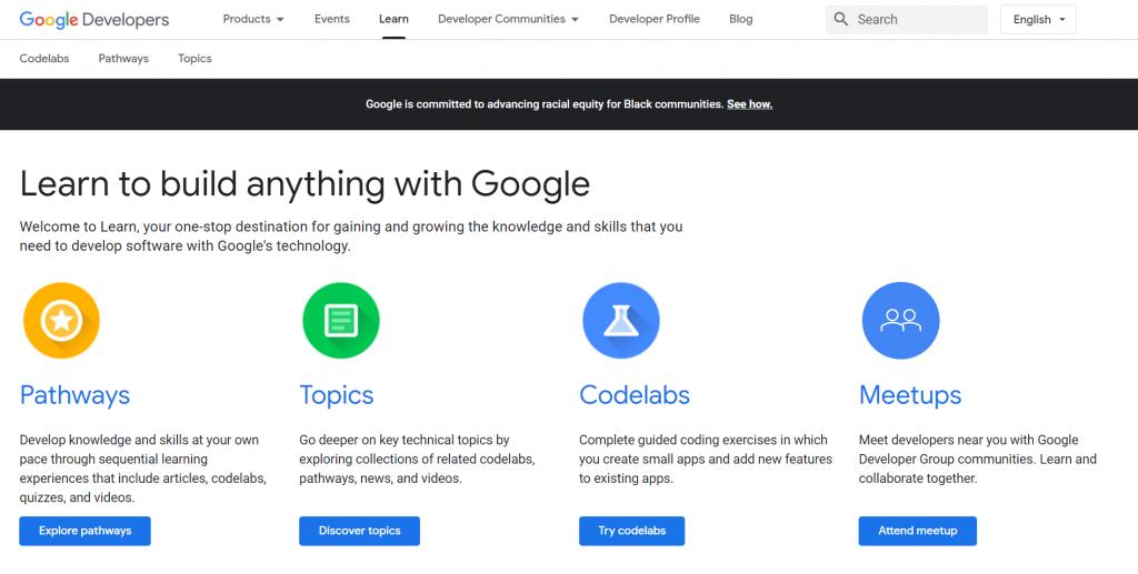 Google Developers homepage.
