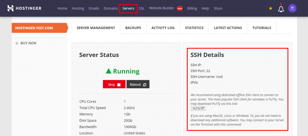 A screenshot from the Hostinger's hPanel Servers tab showing where to find the login details