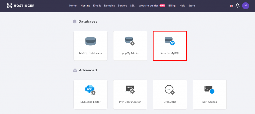A screenshot from Hostinger's hPanel showing where to find the Remote MySQL option