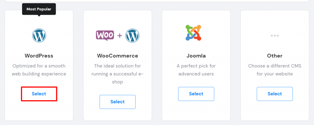 Screenshot from Hostinger's hPanel showing where to choose WordPress.