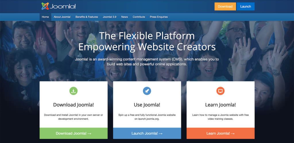 Screenshot from the Joomla! website showing its front page.
