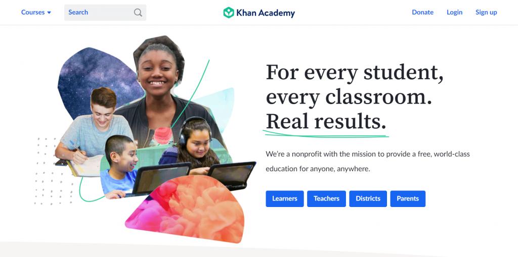 Khan Academy homepage.
