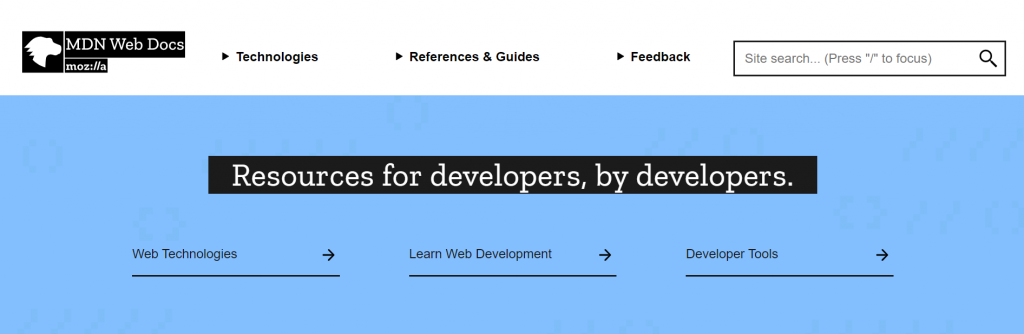 MDN Web Docs homepage.