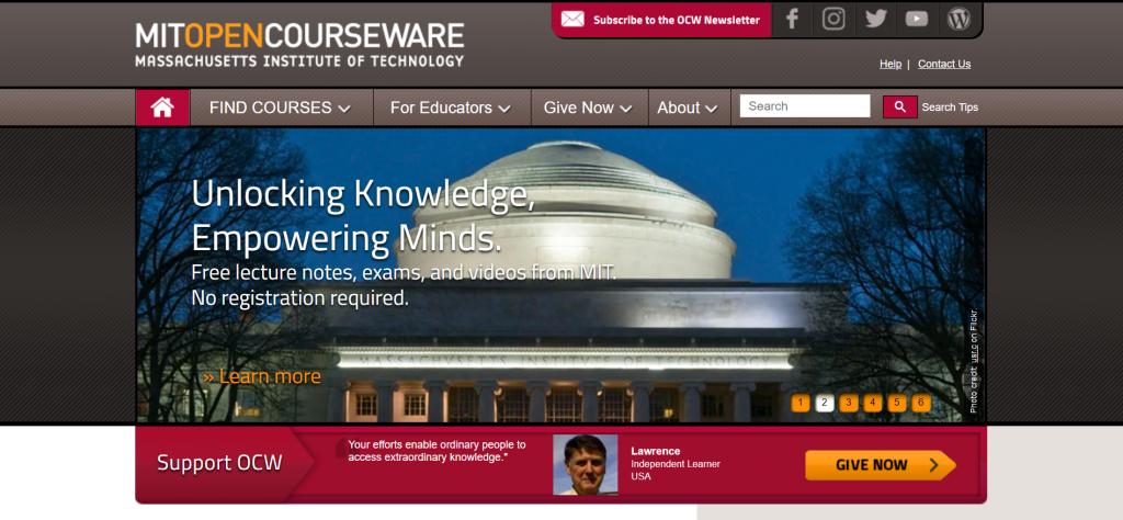 MIT OpenCourseWare homepage.